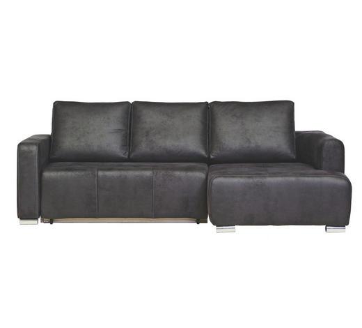 WOHNLANDSCHAFT Anthrazit Lederlook - Chromfarben/Anthrazit, Design, Textil/Metall (233/140cm) - Carryhome