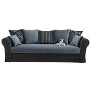 SOFA 2,5-SITZER Velours Blau, Schwarz - Blau/Schwarz, Design, Kunststoff/Textil (225/92/101cm) - SET ONE BY MUSTERRIN