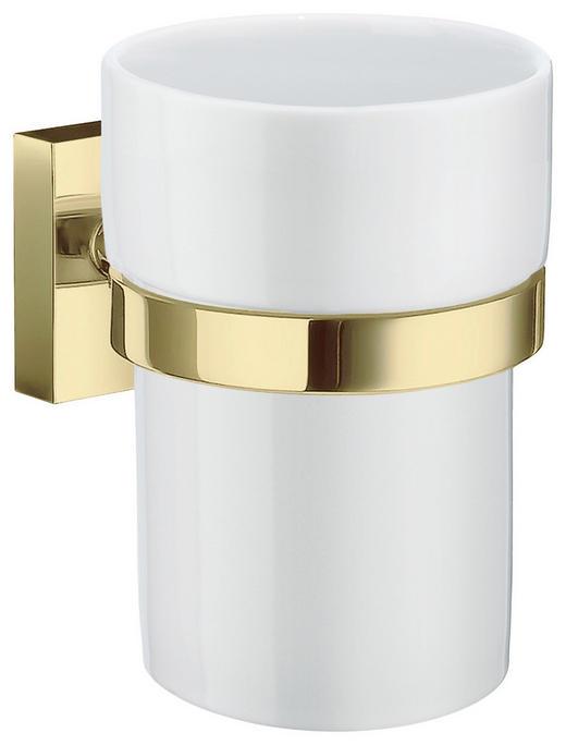 ZAHNPUTZBECHER - Goldfarben/Weiß, LIFESTYLE, Keramik/Metall (7,5/9,8/9,3cm)