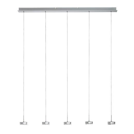 LED-HÄNGELEUCHTE - Alufarben/Weiß, LIFESTYLE, Kunststoff/Metall (136/200cm)