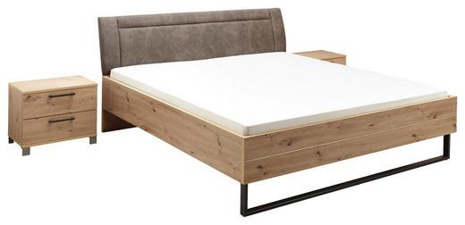 BETTANLAGE in Eichefarben, Grau - Eichefarben/Grau, Design, Holzwerkstoff/Textil (180/200cm) - Carryhome