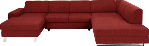 WOHNLANDSCHAFT Rot Webstoff  - Chromfarben/Rot, Design, Textil/Metall (157/350/198cm) - Venda