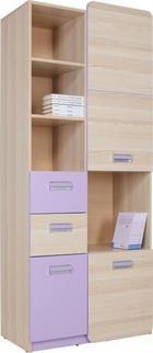 DĚLICÍ STĚNA - barvy jasanu/fialová, Design, dřevěný materiál/umělá hmota (80/188/40cm)