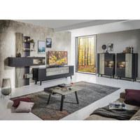 OBÝVACÍ STĚNA, antracitová, barvy dubu, šedá - šedá/barvy dubu, Moderní, kov/dřevo (333,1/223,2/49,2cm) - Dieter Knoll