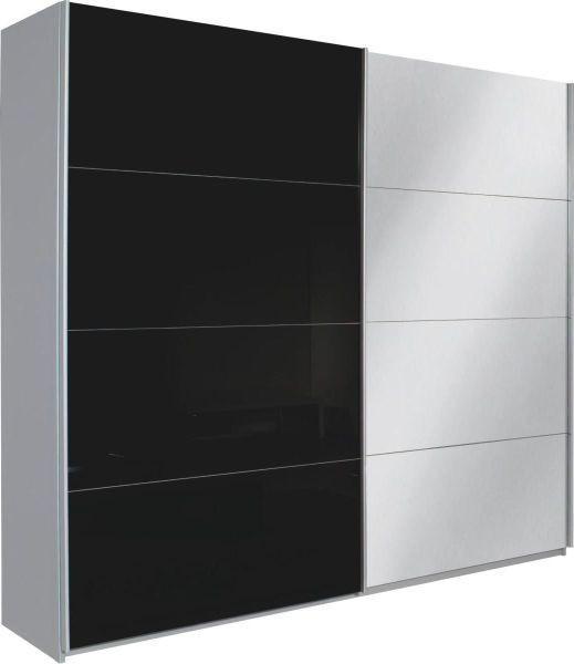 SCHWEBETÜRENSCHRANK 2-türig Alufarben, Schwarz - Alufarben/Schwarz, Design, Glas/Holzwerkstoff (226/210/62cm) - Xora