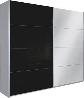 SKJUTDÖRRSGARDEROB - alufärgad/svart, Design, metall/glas (226/210/62cm) - Xora