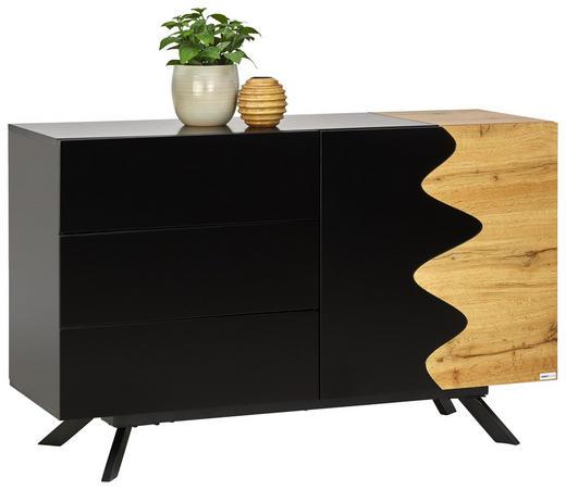 SIDEBOARD - Eichefarben/Schwarz, Design, Holzwerkstoff/Metall (120/75/41,5cm) - Carryhome