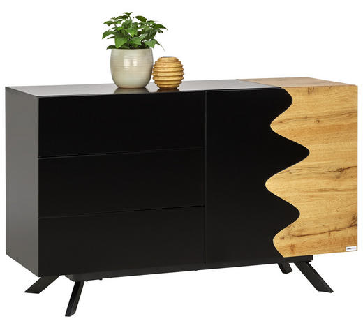 SIDEBOARD 120/75/41,5 cm - Eichefarben/Schwarz, Design, Holzwerkstoff/Metall (120/75/41,5cm) - Carryhome