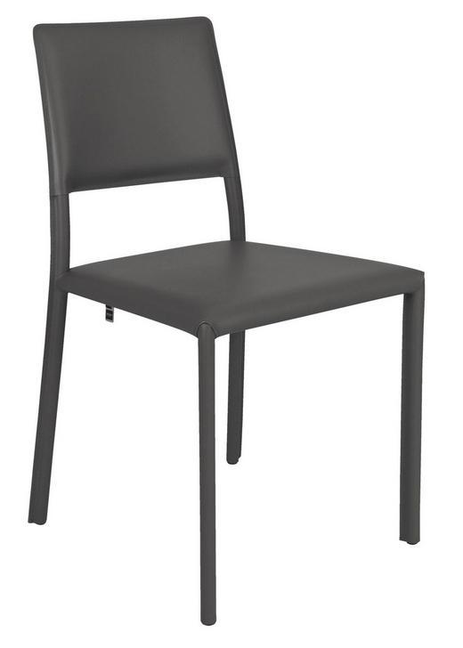 STUHL-SET Dunkelgrau - Dunkelgrau, Design, Leder/Metall (99/86/47cm) - Hülsta - Now
