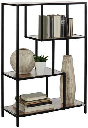 HYLLA - svart/ekfärgad, Basics, metall/träbaserade material (77/114/34cm) - Xora
