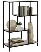 REGÁL - černá/barvy dubu, Basics, kov/kompozitní dřevo (77/114/34cm) - Xora
