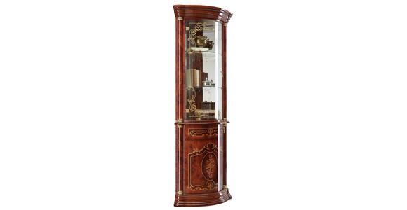 ECKVITRINE in Nussbaumfarben, Goldfarben  - Goldfarben/Nussbaumfarben, LIFESTYLE, Glas/Holzwerkstoff (56/205/56cm) - Cantus