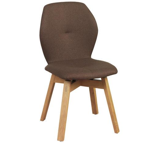 STUHL in Holz, Textil Braun, Eichefarben  - Eichefarben/Braun, Design, Holz/Textil (47/87/58cm) - Lomoco