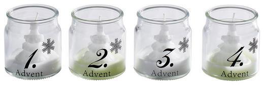 Adventkerzen Set im Glas  Weiß - Weiß, Glas (5,5/6,5cm)