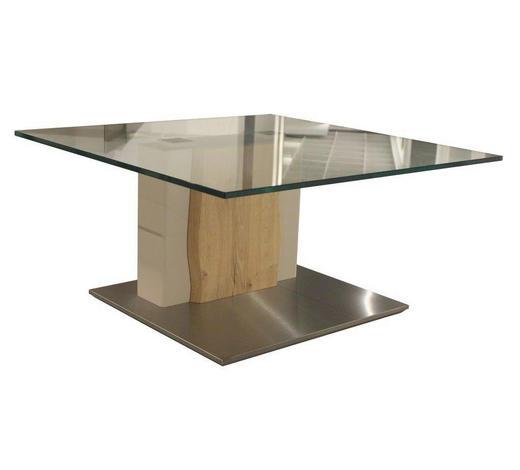 COUCHTISCH in Holz, Metall, Glas, Holzwerkstoff 85/85/43 cm - Edelstahlfarben/Eichefarben, Design, Glas/Holz (85/85/43cm) - Moderano