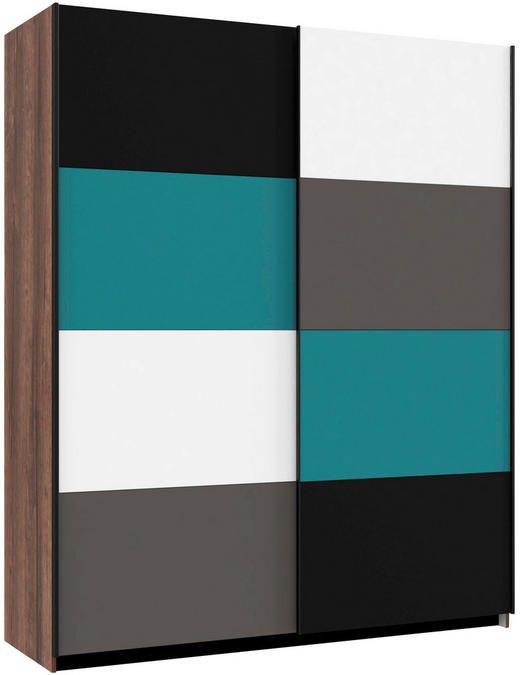 SKŘÍŇ S POSUVNÝMI DVEŘMI, barvy dubu, bílá, černá, šedá, zelená - bílá/šedá, Design, kov/kompozitní dřevo (170/210/61cm) - Carryhome