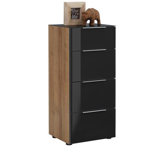 KOMODA, antracitová, barvy dubu - černá/barvy dubu, Basics, kov/kompozitní dřevo (46/100/40cm)