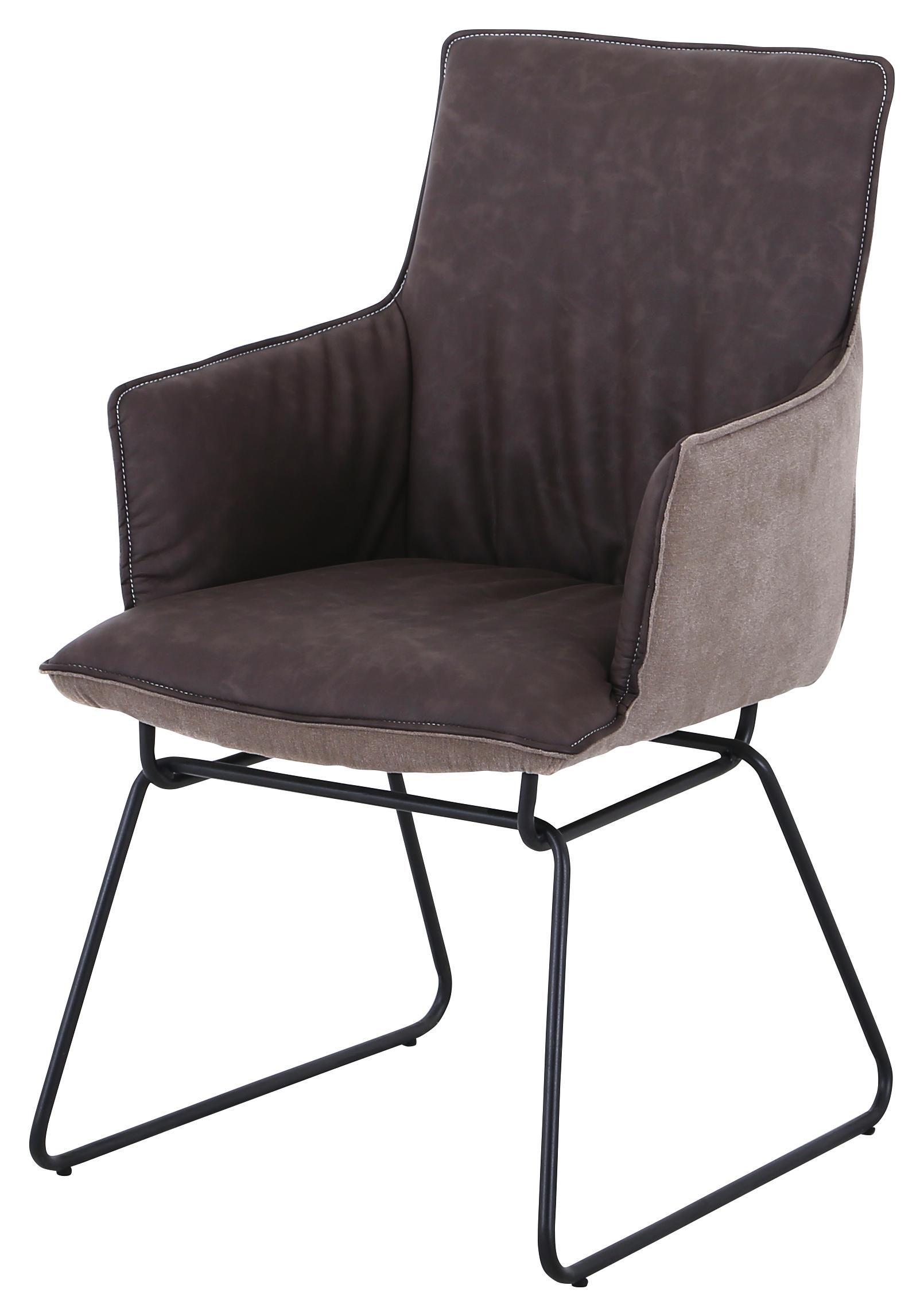 STOL, kovina, tekstil rjava - krom/rjava, Design, kovina/tekstil (57/89/65cm) - Carryhome