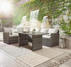 DINING-LOUNGESET Kunststoffgeflecht Aluminium - Schwarz/Grau, Design, Glas/Kunststoff (181/241cm) - Ambia Garden