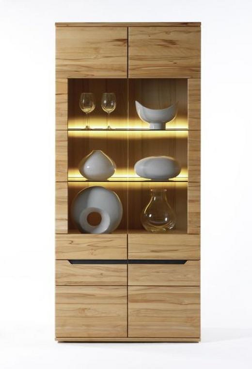VITRINE Wildeiche massiv Eichefarben - Eichefarben, Design, Glas/Holz (90/198,4/39,4cm) - LINEA NATURA
