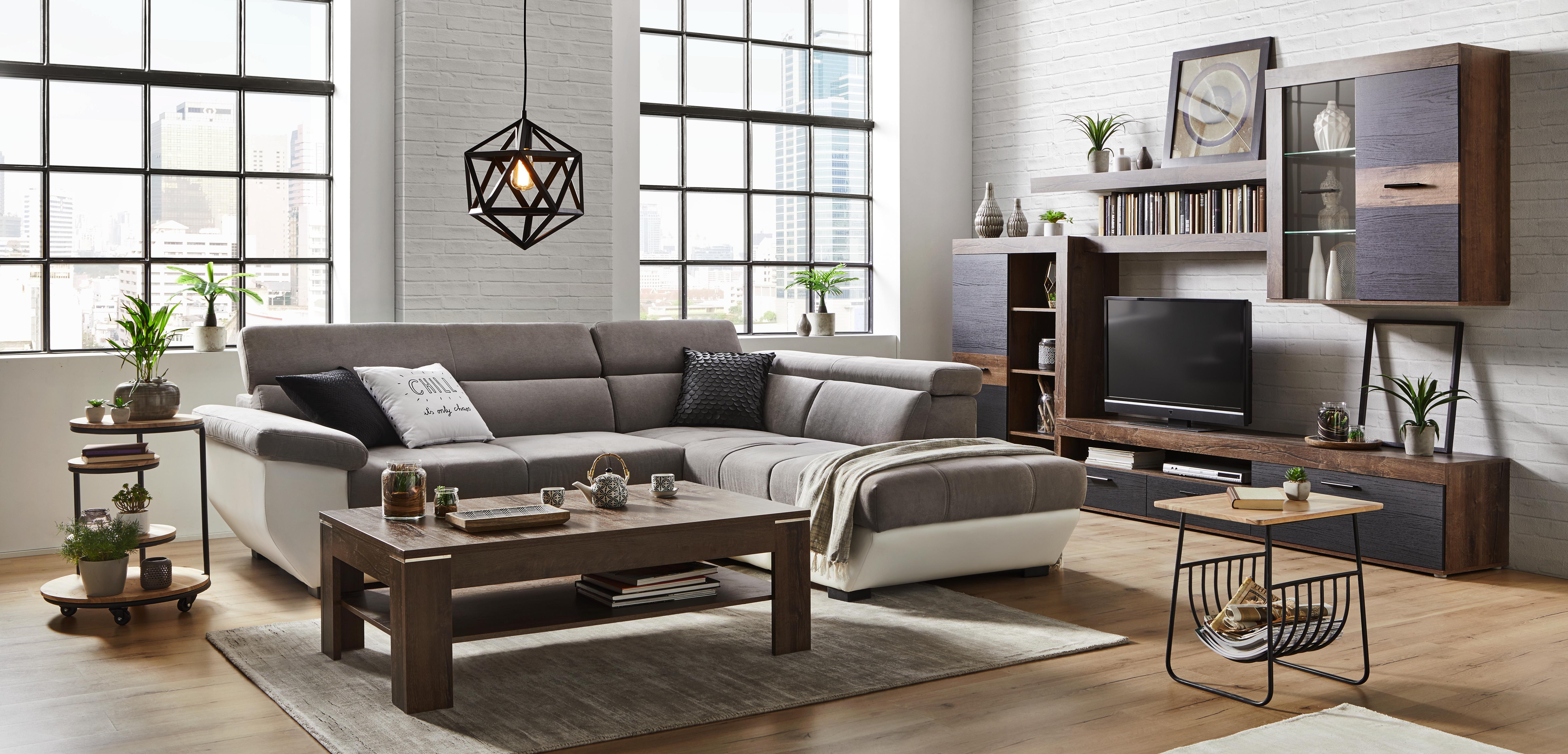 HYLLKOMBINATION - gråbrun/svart, Design, metall/glas (300/201/41cm) - Modern Living