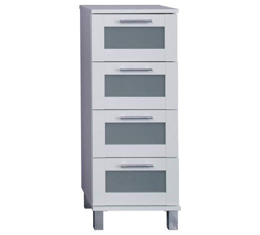 SEITENSCHRANK 35/89/33 cm - Silberfarben/Weiß, KONVENTIONELL, Glas/Holzwerkstoff (35/89/33cm) - Xora