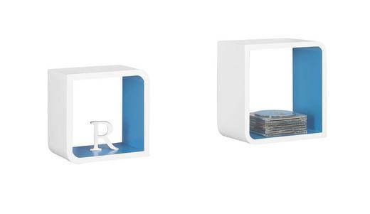WANDREGALSET - Blau/Weiß, Design, Holzwerkstoff (28/28/15cm) - Boxxx