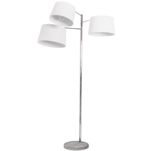 STEHLEUCHTE - Chromfarben/Weiß, Design, Textil/Metall (185cm) - By-Rydens
