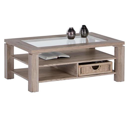 COUCHTISCH in Holz, Glas, Holzwerkstoff 102/65,6/43 cm - Sonoma Eiche, KONVENTIONELL, Glas/Holz (102/65,6/43cm) - Carryhome