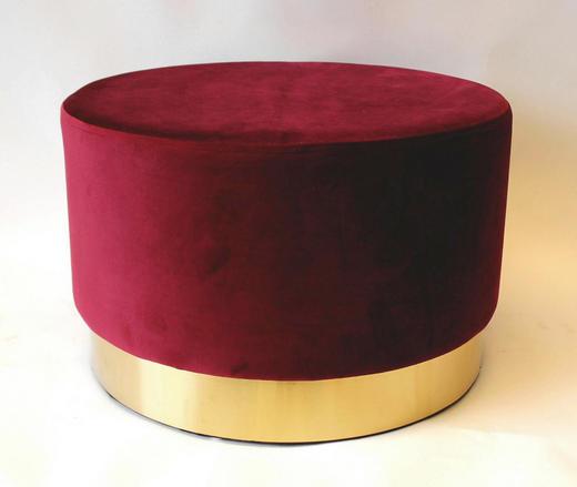HOCKER Bordeaux - Bordeaux, Textil/Metall (55/35cm)