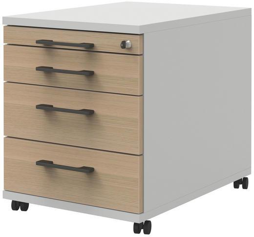 ROLLCONTAINER - Eichefarben/Anthrazit, Design, Holzwerkstoff/Kunststoff (43/54,4/60cm)