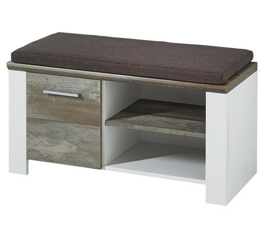 GARDEROBENBANK 90/50/39 cm - Chromfarben/Braun, Trend, Holzwerkstoff/Kunststoff (90/50/39cm) - Xora