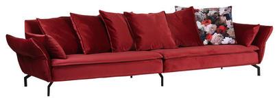 MEGASOFA in Textil Rot  - Rot/Schwarz, ROMANTIK / LANDHAUS, Textil/Metall (370/87/110cm) - Landscape