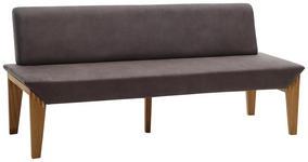 SITZBANK 200/87/65 cm  in Grau, Eichefarben  - Eichefarben/Grau, KONVENTIONELL, Holz/Textil (200/87/65cm) - Venda