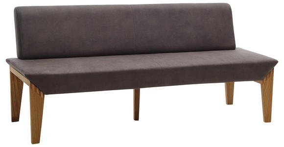 SITZBANK 160/87/65 cm  in Grau, Eichefarben  - Eichefarben/Grau, KONVENTIONELL, Holz/Textil (160/87/65cm) - Venda