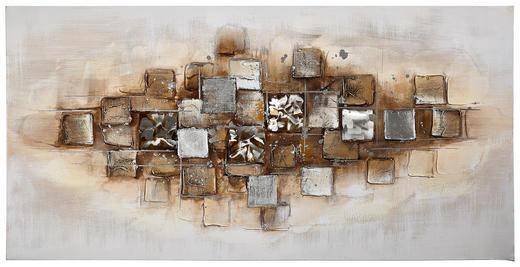 Strukturen ÖLGEMÄLDE - Multicolor, Design, Holz/Textil (70/140cm) - Monee
