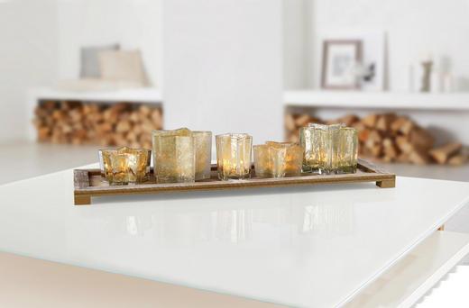 Teelichthalter Set 6 tlg. - Naturfarben, Basics, Glas/Holz (64,5/20/3cm) - X-Mas