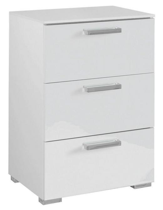 KOMMODE Weiß - Chromfarben/Weiß, Design, Kunststoff/Metall (55/81/42cm) - Carryhome