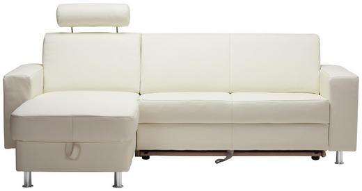 WOHNLANDSCHAFT in Leder Weiß - Chromfarben/Weiß, Design, Leder/Kunststoff (165/238cm) - Xora