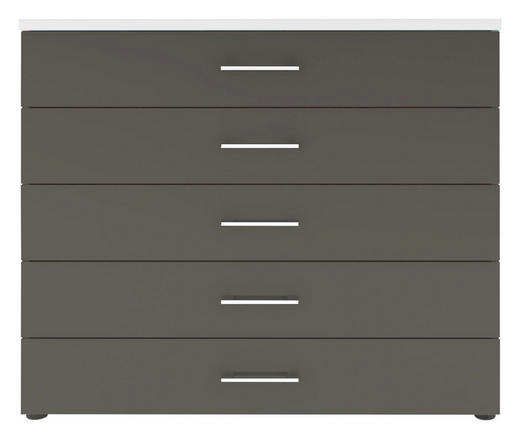 KOMMODE Grau, Weiß - Chromfarben/Schwarz, Design, Kunststoff/Metall (100/84/40cm) - Carryhome