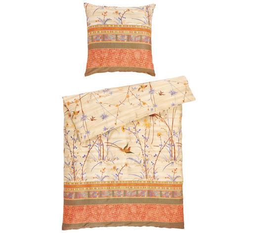 BETTWÄSCHE Makosatin Grün, Beige 135/200 cm  - Beige/Grün, Basics, Textil (135/200cm) - Bassetti