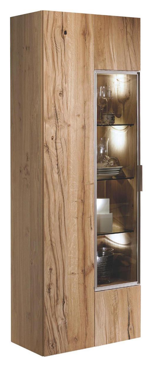 VITRINE Altholz, Eiche furniert, mehrschichtige Massivholzplatte (Tischlerplatte) Eichefarben - Eichefarben/Silberfarben, Natur, Glas/Holz (64/194/42,3cm) - Voglauer