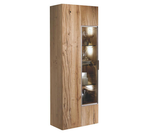 VITRINE in furniert, mehrschichtige Massivholzplatte (Tischlerplatte) Altholz, Eiche Eichefarben  - Eichefarben/Silberfarben, Natur, Glas/Holz (64/194/42,3cm) - Voglauer