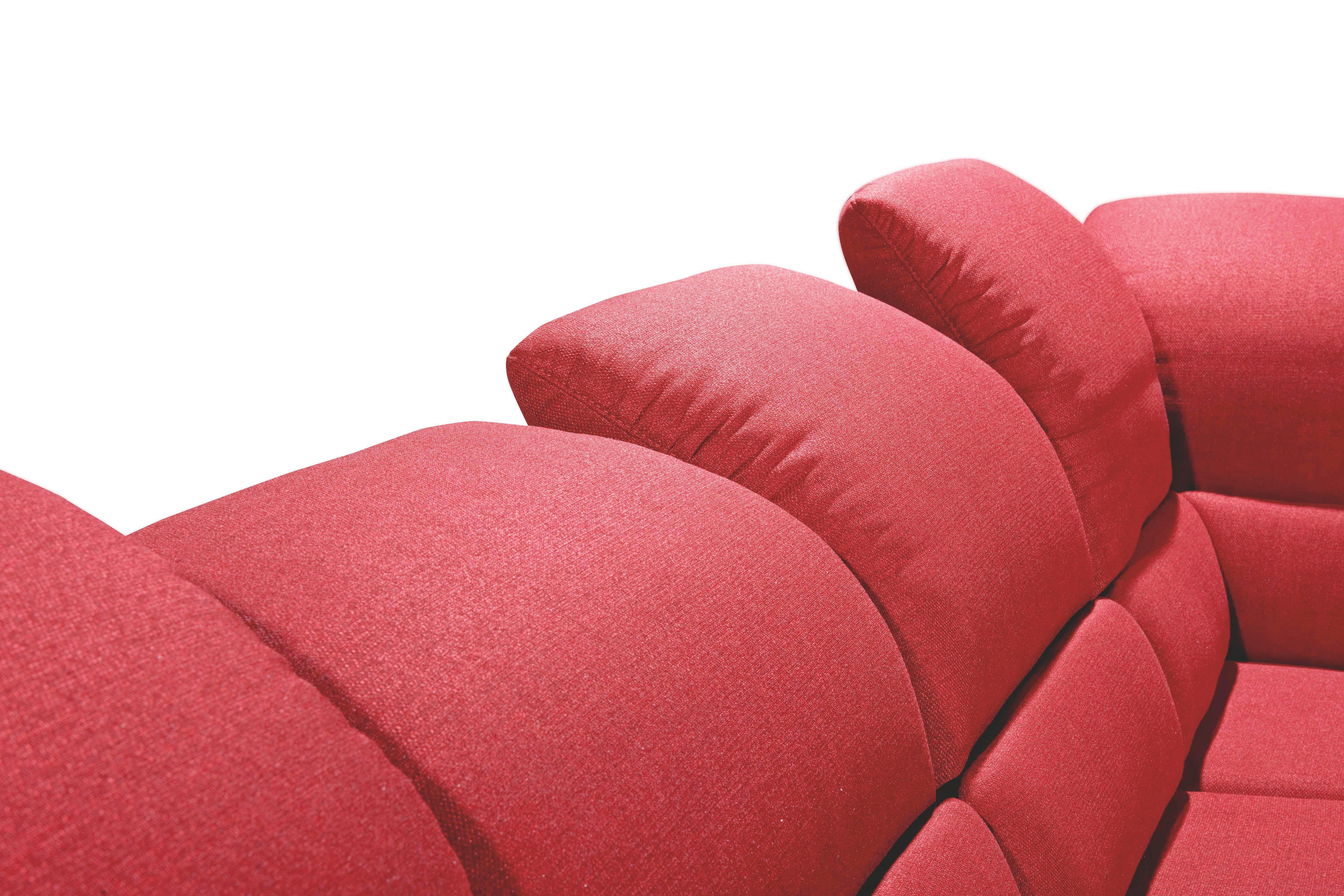 WOHNLANDSCHAFT Flachgewebe - Chromfarben/Rot, MODERN, Textil/Metall (174/348/236cm) - MUSTERRING