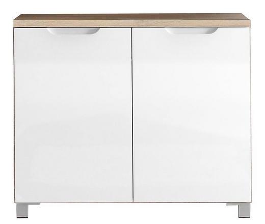 WASCHBECKENUNTERSCHRANK Weiß - Eichefarben/Silberfarben, Design, Holzwerkstoff (80/66/32cm) - Xora