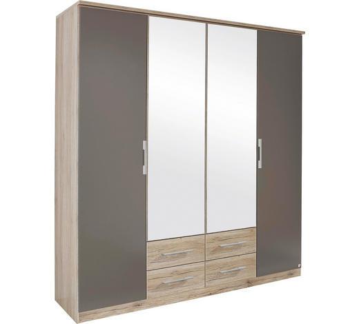 FALTTÜRENSCHRANK in Braun, Grau, Eichefarben - Eichefarben/Silberfarben, KONVENTIONELL, Glas/Holzwerkstoff (181/212/56cm) - Boxxx