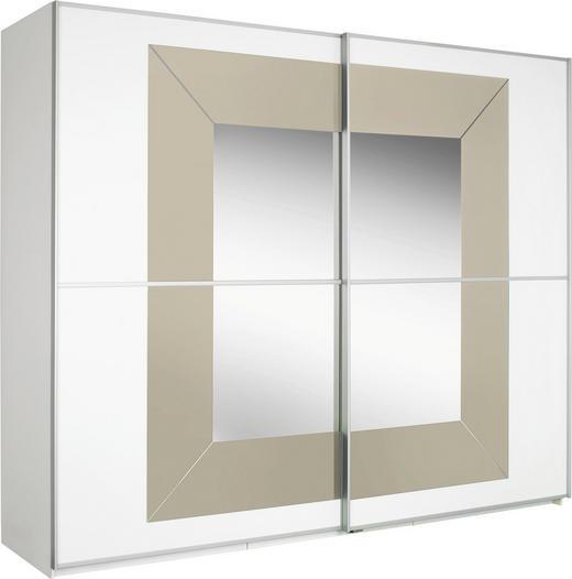 SCHWEBETÜRENSCHRANK 2  -türig Sandfarben, Weiß - Sandfarben/Alufarben, Design, Glas/Holzwerkstoff (270/236/69cm) - CANTUS