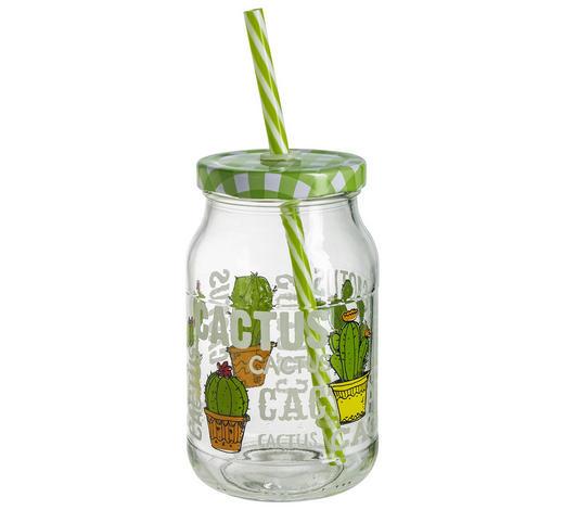 TRINKHALMBECHER - Klar/Grün, Trend, Glas/Kunststoff (0,45l)