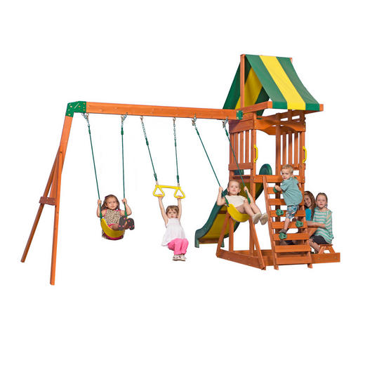 Spielturm Sunnydale - Gelb/Braun, Basics, Holz (406,4/284,4/328cm)