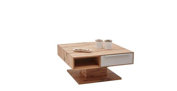 COUCHTISCH in Glas, Holz 82/82/40-72,5 cm - Buchefarben/Weiß, Design, Glas/Holz (82/82/40-72,5cm) - Valnatura